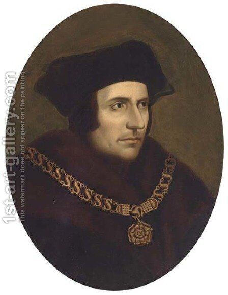 Portrait of Thomas More (1478-1535), bust-length, wearing a chain of office by (after) Holbein the Younger, Hans - Reproduction Oil Painting