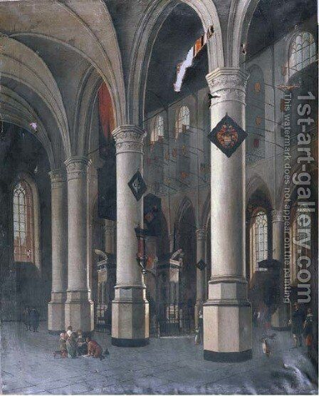 The interior of the New Church in Delft with the Tomb of William the Silent by Hendrick Van Vliet - Reproduction Oil Painting