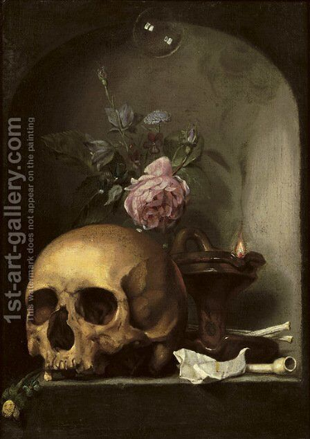 A 'vanitas' with a skull, mixed flowers, an oil lamp, pipes and a soap bubble in a stone niche by Hendrick Andriessen - Reproduction Oil Painting