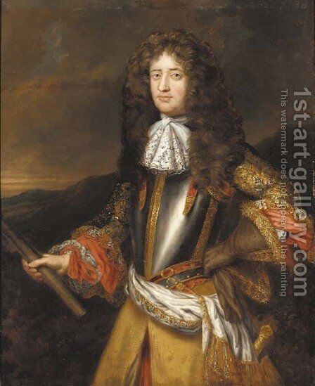 Portrait of Lord George Douglas, subsquently Earl of Dumbarton (1636 ()-1692), half-length, in a breastplate with an embroidered coat by (after) Henri Gascars - Reproduction Oil Painting
