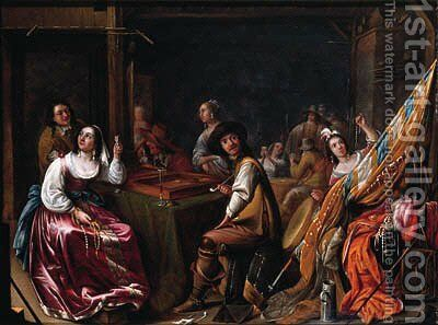 A Kortegaardje Officers and campfollowers playing tric-trac in a guardroom, others distributing the loot nearby by Jacob Duck - Reproduction Oil Painting