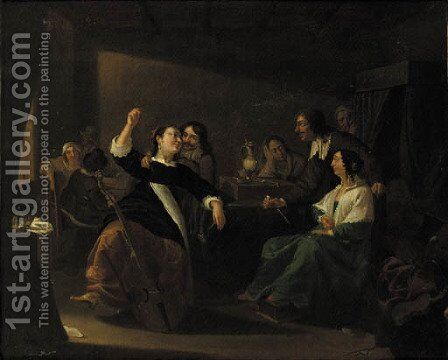 Officers drinking and smoking in a brothel by Jacob Duck - Reproduction Oil Painting