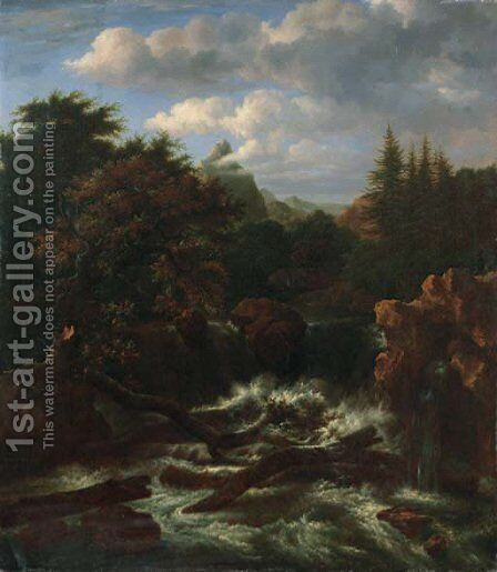 A traveller on a rock by a waterfall in a wooded landscape by Isaak van Ruisdael - Reproduction Oil Painting