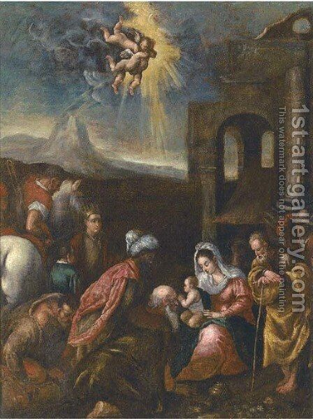 The Adoration of the Magi by Jacopo Bassano (Jacopo da Ponte) - Reproduction Oil Painting