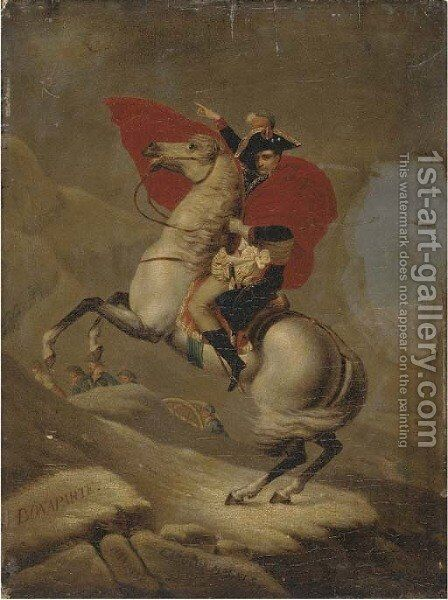 Napolean Bonaparte crossing the Alps by the Great Saint Bernard Pass- 1800 by Jacques Louis David - Reproduction Oil Painting