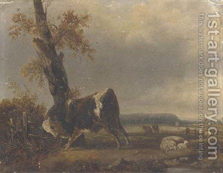 A river landscape with a bull and sheep in the background by Jacques-Raymond Brascassat - Reproduction Oil Painting