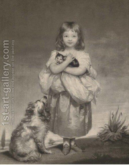 A young girl holding a cat with a dog at her side, by Samuel Reynolds by (after) James Northcote - Reproduction Oil Painting