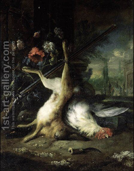 A dead hare hanging from a shotgun with a dead hen, in a classical garden by (after) Jan Baptist Weenix - Reproduction Oil Painting