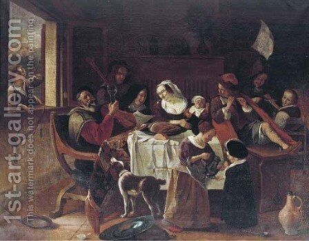 As the old ones sing, so pipe the young ones by Jan Steen - Reproduction Oil Painting