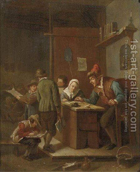 A classroom interior with a school master correcting pupils' papers by Jan Steen - Reproduction Oil Painting