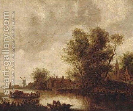 A river landscape with a ferry, a church beyond by Jan van Goyen - Reproduction Oil Painting