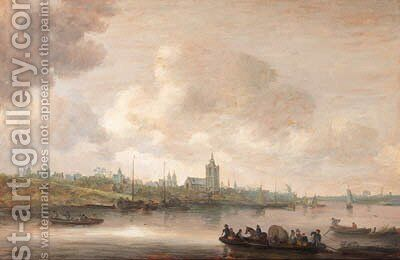 A view of Arnhem with fishermen in rowing boats in the foreground by Jan van Goyen - Reproduction Oil Painting