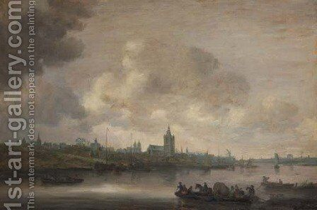 A view of Arnhem with fishermen in rowing boats in the foreground 2 by Jan van Goyen - Reproduction Oil Painting