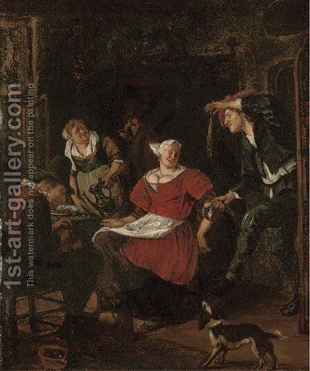 Peasants merrymaking in an interior by (after) Jan Steen - Reproduction Oil Painting