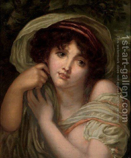 Portrait of a young lady, bust-length by (after) Jean Baptiste Greuze - Reproduction Oil Painting