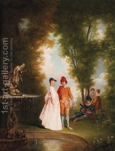 An elegant couple by a sculpted fountain by Jean-Antoine Watteau - Reproduction Oil Painting