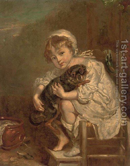A young girl with a dog by Jean Baptiste Greuze - Reproduction Oil Painting