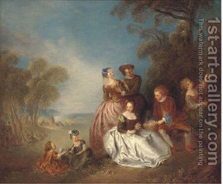 A fete champetre 2 by Jean-Baptiste Joseph Pater - Reproduction Oil Painting
