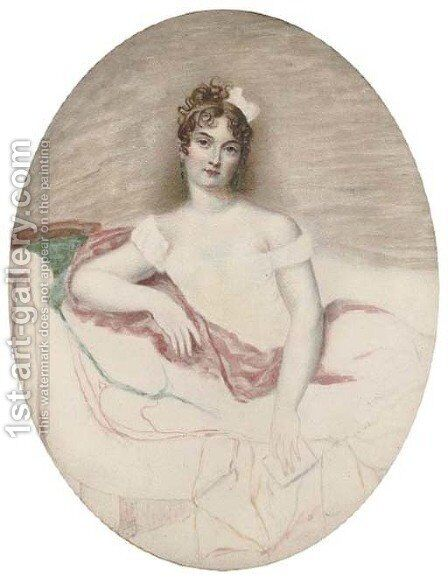 Princess Borghese, half-length, seated by Jacques-Jean- Baptiste Augustin - Reproduction Oil Painting
