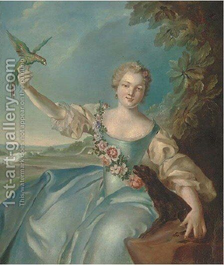 Portrait of Mathilde de Canisy, Marquise d'Antin, seated half-length, with a dog and a parrot by (after) Jean-Marc Nattier - Reproduction Oil Painting
