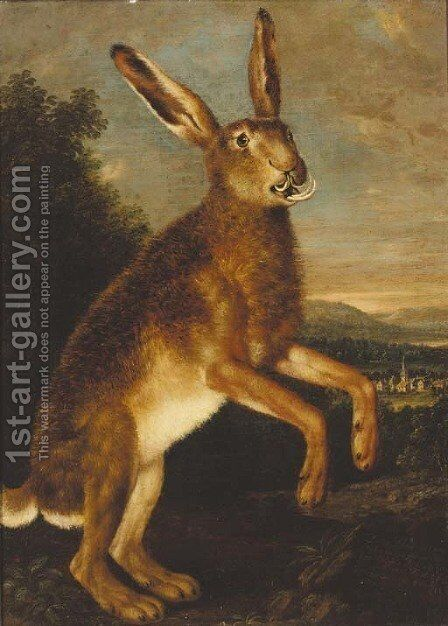 A prancing hare, with a town beyond by Johann Elias Ridinger or Riedinger - Reproduction Oil Painting