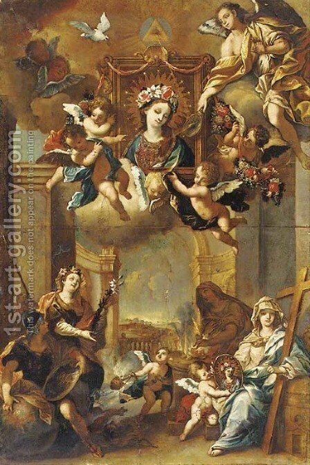 An Allegory of the Life of the Virgin by (after) Johann Georg Bergmutller - Reproduction Oil Painting