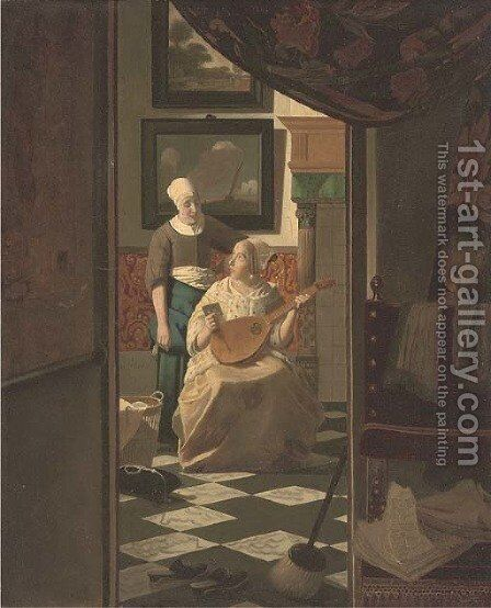 An elegant lady seated in an interior receiving a letter by (after) Johannes Vermeer - Reproduction Oil Painting