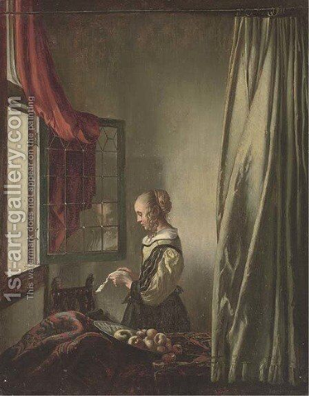 Girl reading a letter at an open window by (after) Johannes Vermeer - Reproduction Oil Painting