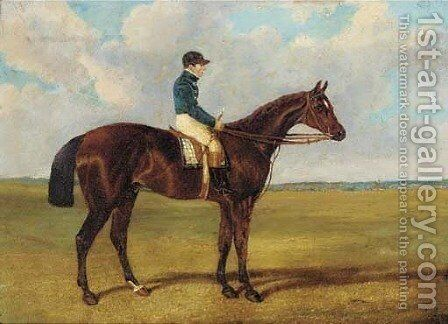 A bay racehorse with jockey up by (after) Herring Snr, John Frederick - Reproduction Oil Painting