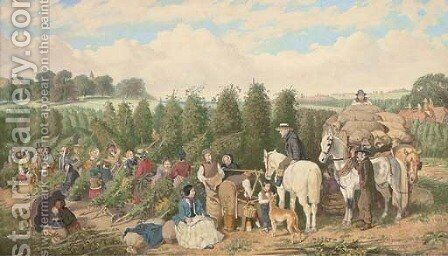 The hop pickers by (after) John Frederick Herring - Reproduction Oil Painting