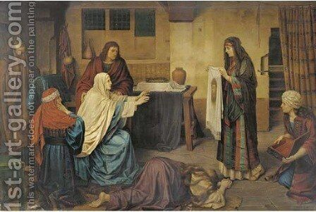 Pilgrims' prayers before Christian relics by (after) Joseph Jansen - Reproduction Oil Painting