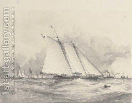 Schooner yacht America off Dunnose by (after) Joseph Miles Gilbert - Reproduction Oil Painting