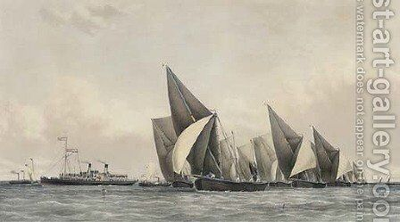 The arrival at Erith of the winning spritsail barges in the Fifth Annual Sailing Barge Match by (after) Joshua Taylor - Reproduction Oil Painting