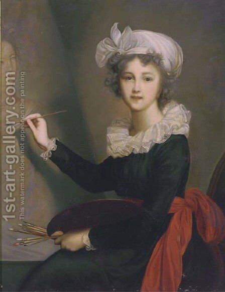 Portrait of the artist, three-quarter-length, in a blue dress with a red sash at her waist, a white lace collar and cap by Elisabeth Vigee-Lebrun - Reproduction Oil Painting