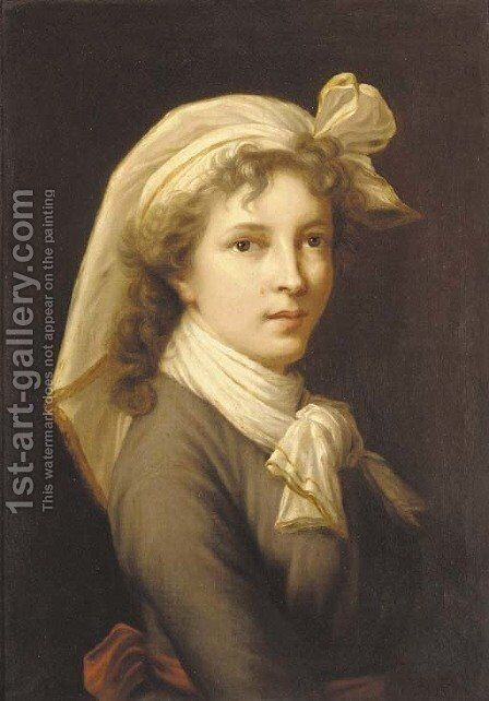 Portrait of the artist, bust length, in a cravate and headscarf by Elisabeth Vigee-Lebrun - Reproduction Oil Painting