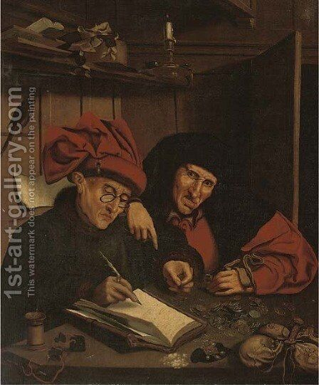 Two tax gatherers by (after) Marinus Van Reymerswaele - Reproduction Oil Painting