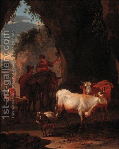 Peasants with cattle on a rocky pass by (after) Nicolaes Berchem - Reproduction Oil Painting