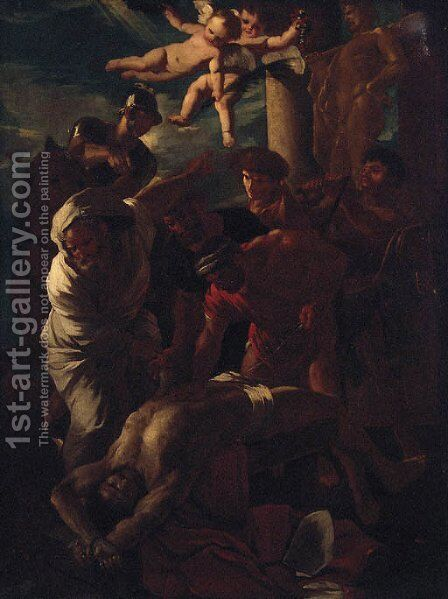 The martyrdom of Saint Erasmus by (after) Nicolas Poussin - Reproduction Oil Painting