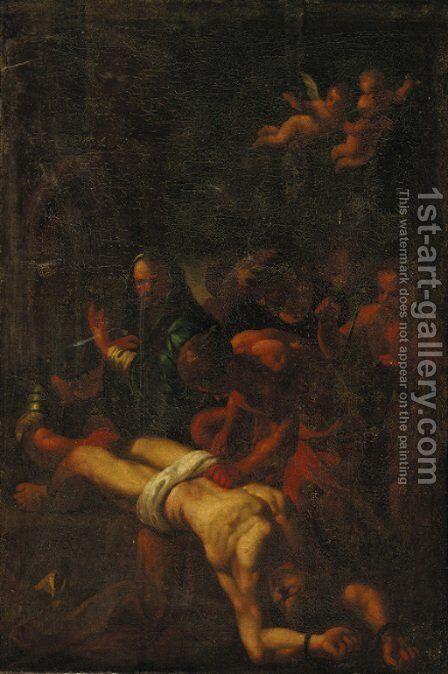 The martyrdom of Saint Erasmus 2 by (after) Nicolas Poussin - Reproduction Oil Painting