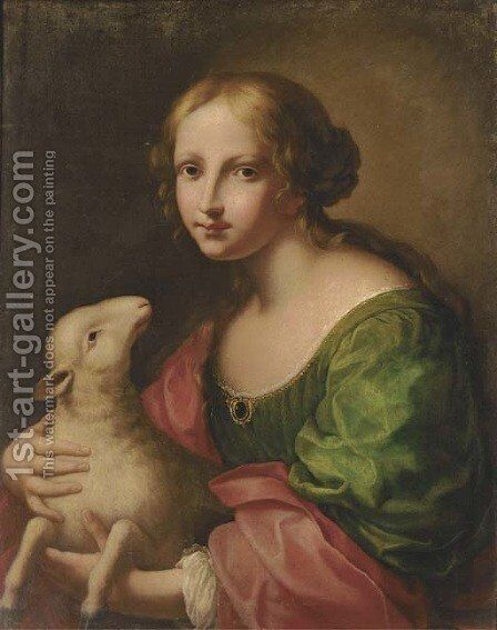 Saint Agnes by (after) Onorio Marinari - Reproduction Oil Painting