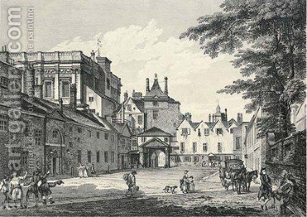 Whitehall Court with part of the Banqueting House, by E. Rooker by (after) Paul Sandby - Reproduction Oil Painting