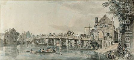 The old wooden bridge at Windsor by (after)  Paul Sandby - Reproduction Oil Painting