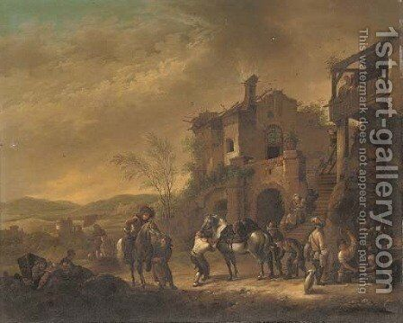 Cavalrymen at rest by a farrier; and Cavalrymen setting out from a barn by (after) Philips Wouwerman - Reproduction Oil Painting
