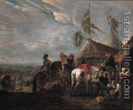 Heralds halting at a blacksmith's near an encampment by (after) Philips Wouwerman - Reproduction Oil Painting
