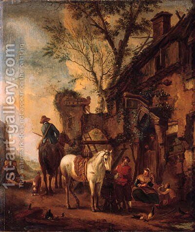 Travellers resting before an inn by (after) Philips Wouwerman - Reproduction Oil Painting