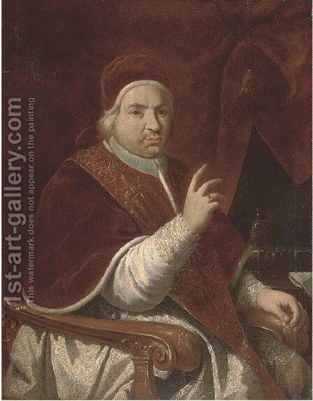 Portrait of Pope Benedict XIV (1675-1758), three-quarter-length, seated, by a draped curtain by (after) Pierre Subleyras - Reproduction Oil Painting