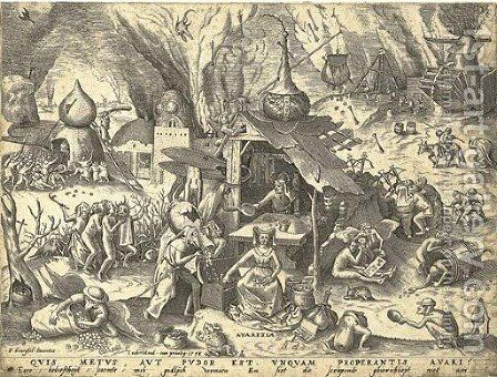 Avarice, from The Set of the Seven Vices, by P. Van der Heyden by (after) Pieter The Elder Bruegel - Reproduction Oil Painting
