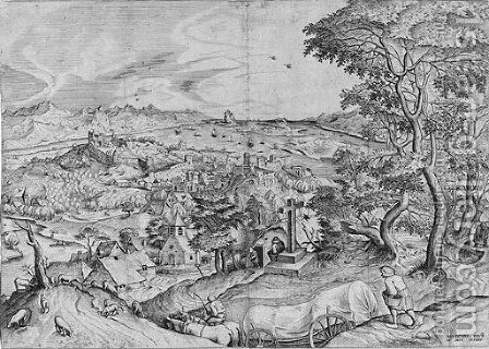 Plaustrum Belgicum, from The Set of Large Landscapes by (after) Pieter The Elder Bruegel - Reproduction Oil Painting
