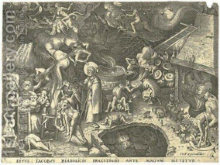 Saint Jacob visiting the Magician Hermogenes, by P. Van der Heyden by (after) Pieter The Elder Bruegel - Reproduction Oil Painting