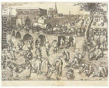 The Skaters before the Gate of St. George at Antwerp, by F. Huys by (after) Pieter The Elder Bruegel - Reproduction Oil Painting